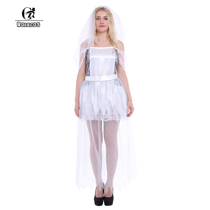 Apprensivo Rolecos Fantasma Sposa Costume Cosplay Del Partito Di Halloween Per Adulti Donna Vestito Sexy Bianco Del Vestito Operato Spettrale Sposa Spaventoso Costume
