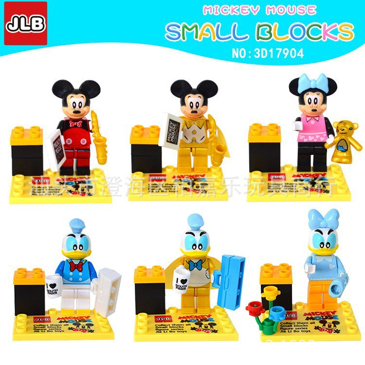 2017 New JLB Mickey Mouse 6pcs/lot Figures Building Blocks Sets Model Bricks Classic Toys For Children Compatible With Legoe