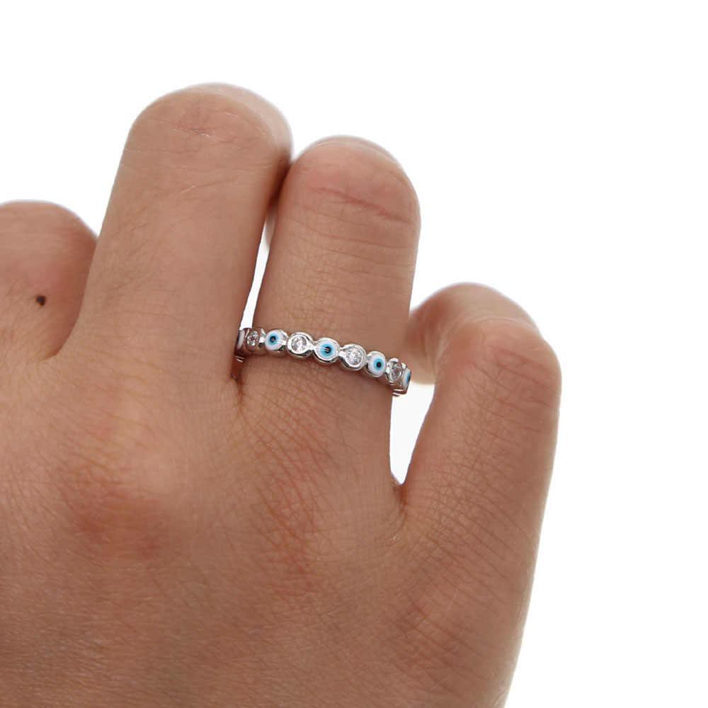 เงินสี 2019 Lucky Evil Eye CZ Eternity แหวนหมั้น band น่ารักสาวผู้หญิง Zirconia Evil Eye Finger แหวน
