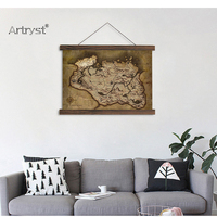 Artryst Modern House Single Hanging Canvas Painting The Skyrim Map HD Printed On Canvas For Living