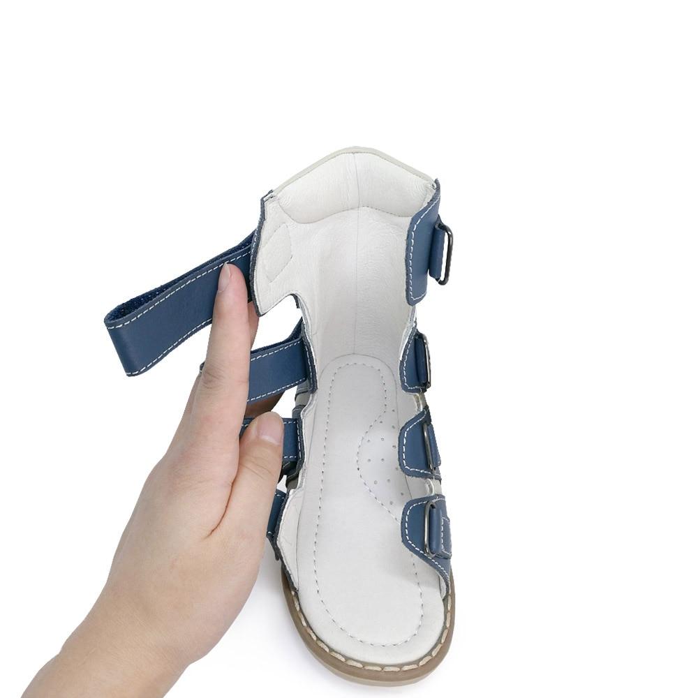 Ortoluckland Little Boys Corrective Orthopedic AFO Leather Sandals