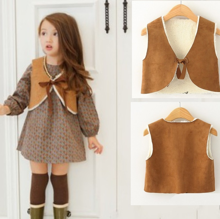 EMS-DHL-Free-Shipping-Kids-Toddler-Girls-Children-s-Khaki-Faux-Fur-Waistcoat-12-pcs-Lot