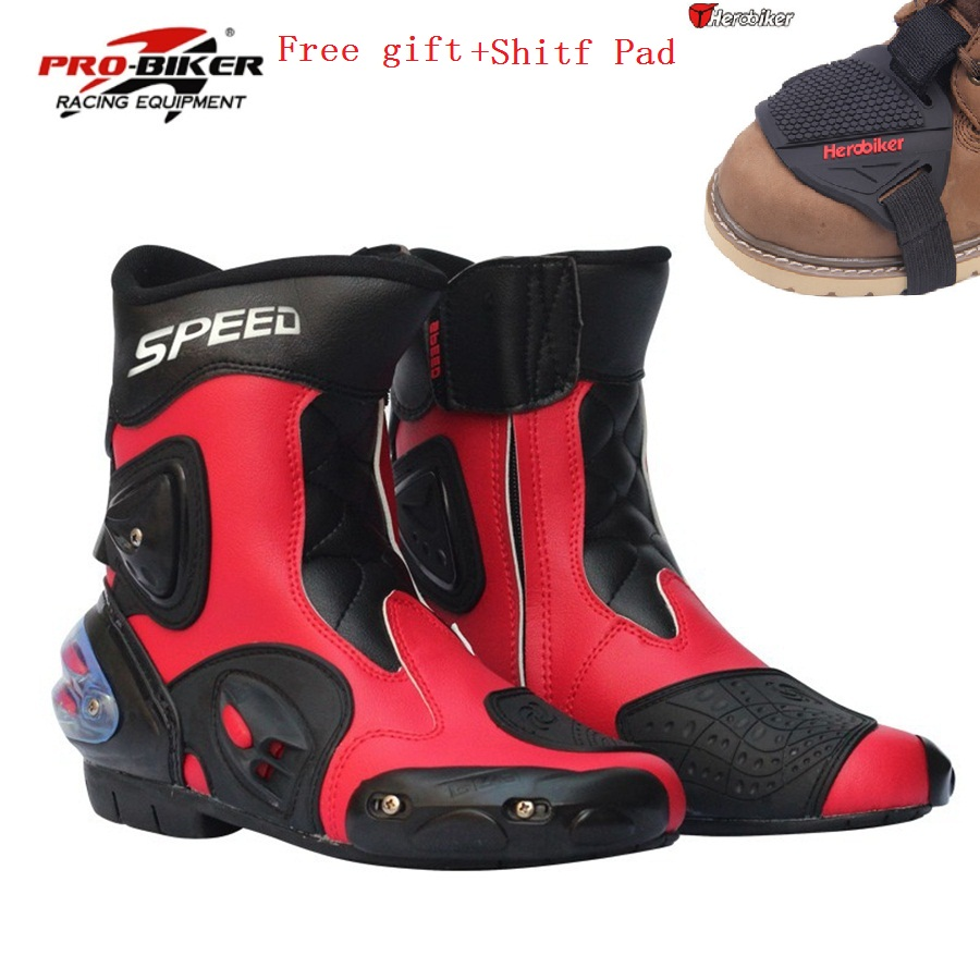 Free shipping 1pair New Men Sport bike Motorcycle Moto Windproof high fiber Leather motorcyle Racing Motocross Boots