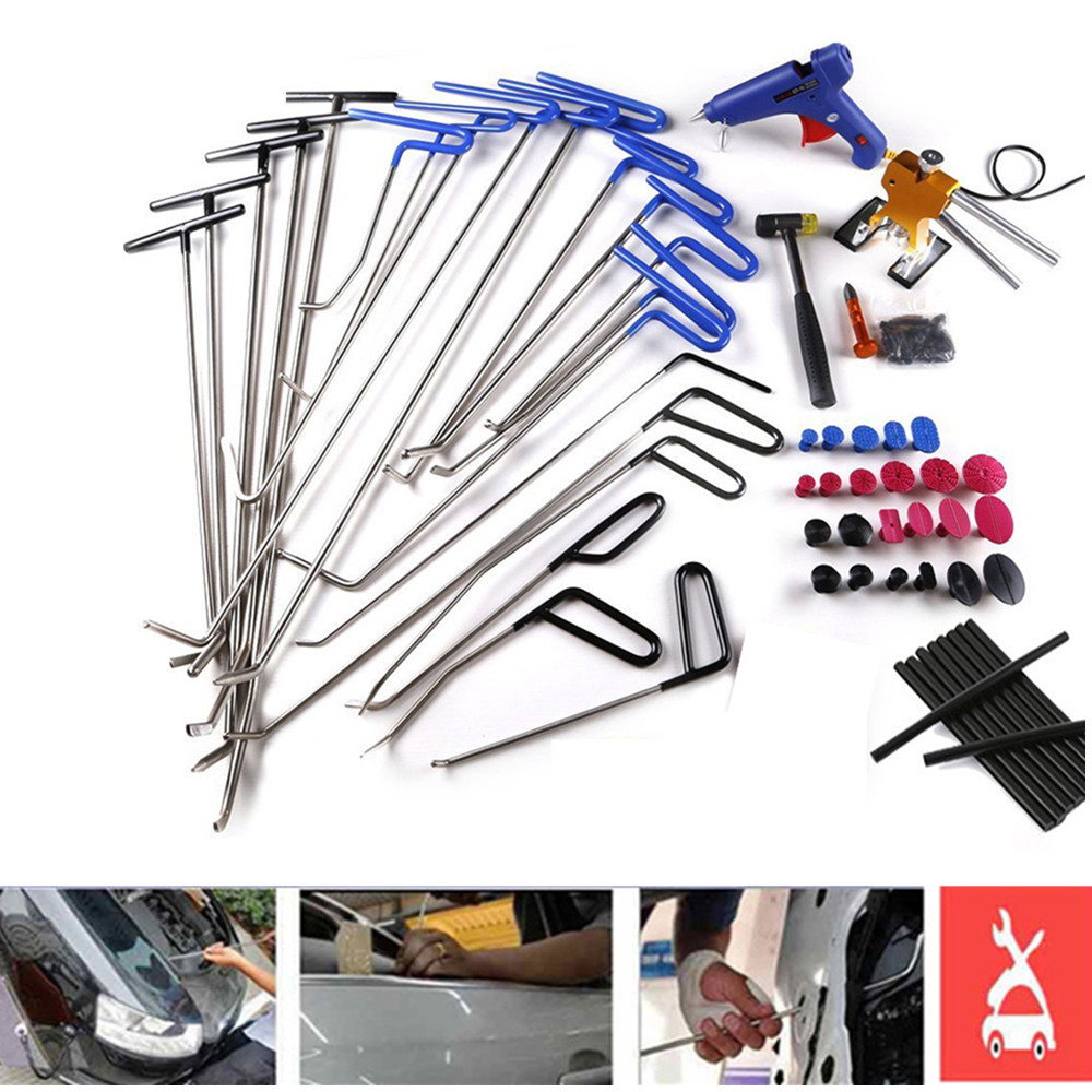 PDR Tools Paintless Dent Repair Kits Hail Ding Removal Wedge Hook PDR Push Rod Hooks Crowbar Dent Removal Tools whdz dent repair pump wedge tools red repair wedge dent hail removal repair tools pdr hook tools push rod pdr repair tools set