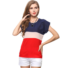 Fashion Short Sleeve 3 Color Spliced Blouse