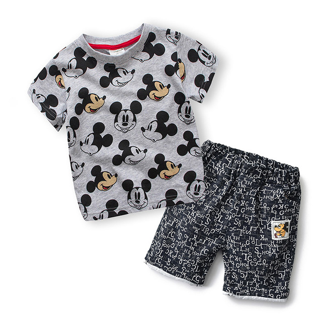 2-6 years Baby Children Clothing Set Miki T-Shirt Short 100% Cotton Sports suit Summer Tracksuit Casual Outfits Boy Clothes Set