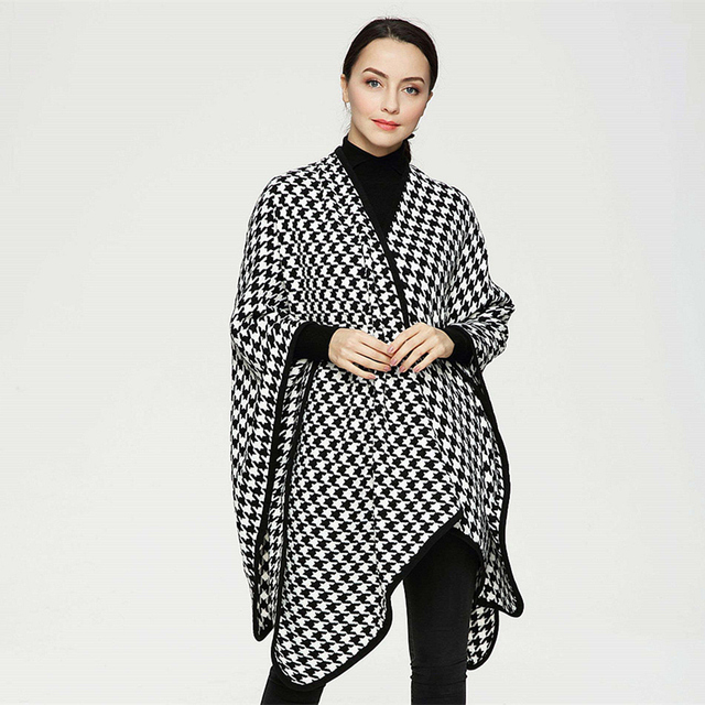 2016 New Scarves for Women Casual Winter Houndstooth Poncho Soft Shawl Plaid Cape Check Scarf for Women Fashion Knitwear PJ048