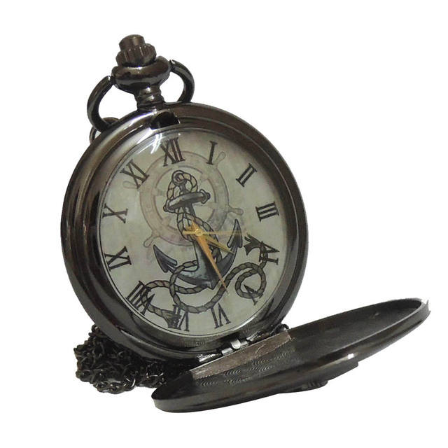 Bronze/Black The Rudder Anchors Roman Numeral Dial Quartz Pocket Watch Analog Pe
