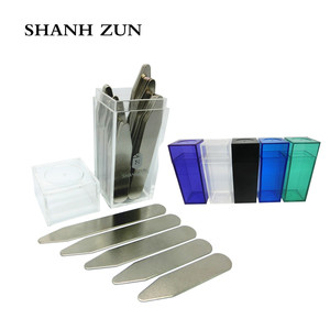SHANH ZUN 10 Pcs Stainless Steel Metal Collar Stays Gift Present Shirt Bone Stiffeners Insert with Different Color Bottles