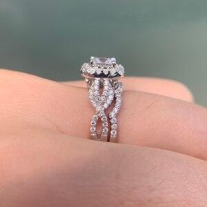 Image 5 - Newshe 2 pçs 925 prata esterlina anel de noivado casamento banda para as mulheres princesa corte branco aaa zircônia cúbica clássico jóias