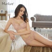 Munllure Fashion eyelash lace sexy thin transparent lace bra set underwear women set perspectivity plus size