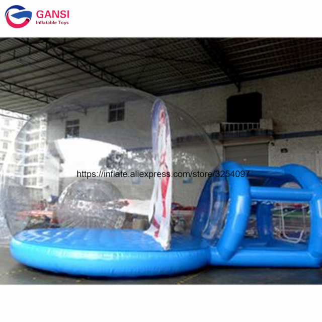 Outdoor Christmas Decoration Snow Globe Inflatable Bounce House Giant Photo Booth For Live Show