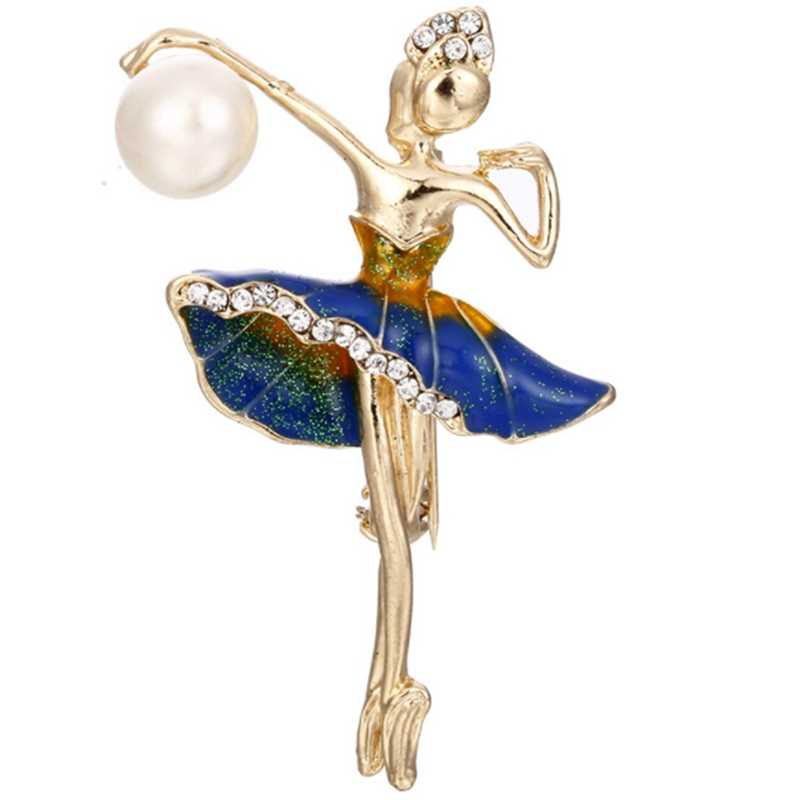 New Mode Style Ballerina Brooches For Women Gold Color Metal Rhinestone Elegant Costume Ballet Dancer Large Enamel Pin Jewelry