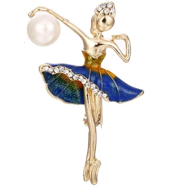 Nuova Modalità di Stile Ballerina Spille Per Le Donne di Colore Dell'oro del Metallo Del Rhinestone Elegante Costume Ballerino di danza classica Grande Smalto Pin Gioielli