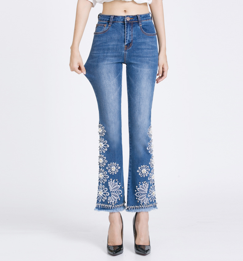 KSTUN women embroidered beaded jeans high quality luxury stretch sexy ladies denim pants bell bottoms flared elegant jeans mujer 15