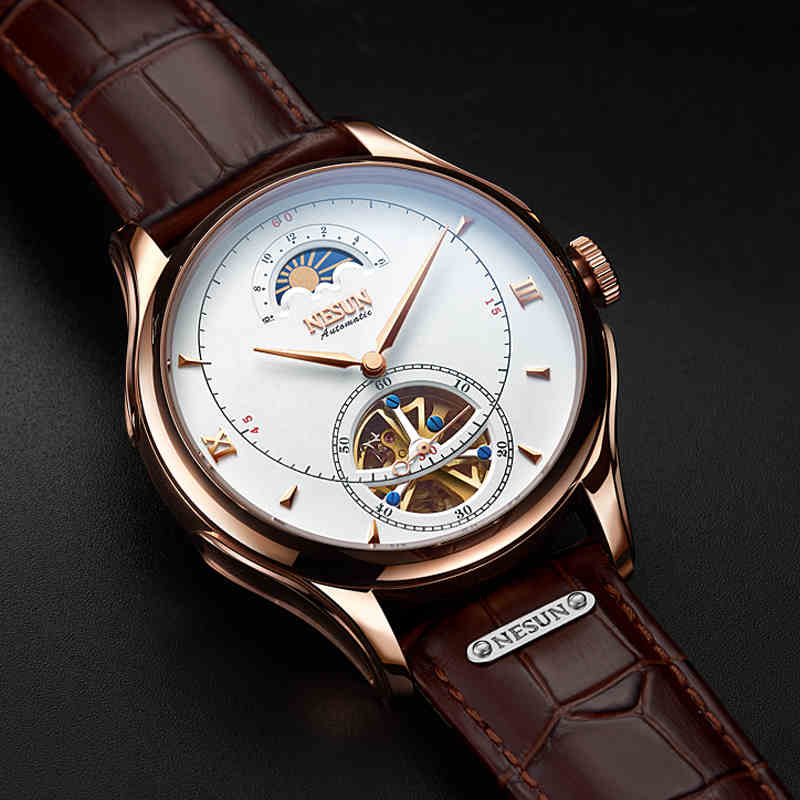 Watches Mechanical-Wristwatch Self-Wind Automatic Luxury Brand Hollow Flywheel Hombre