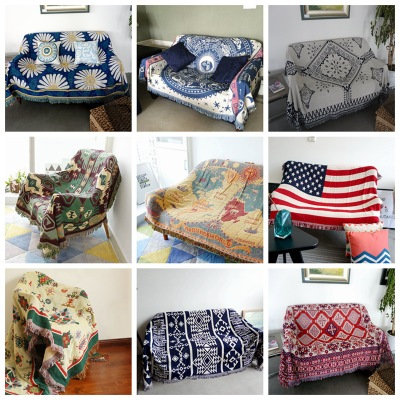 New Bohemian Cotton Throw Blanket for Sofa/Bed/Chair/TV Thread Blanket Manta slip-resistant Sofa Bed Cover Geometric Plaid