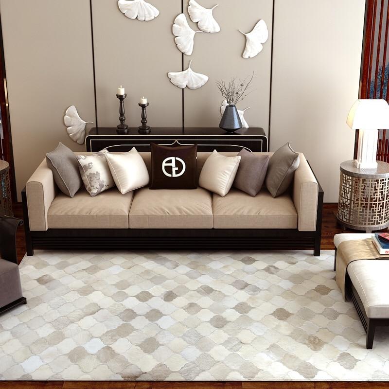 Moderne minimaliste ins scandinave salon table basse patchwork en cuir de vachette tapis mode tapis