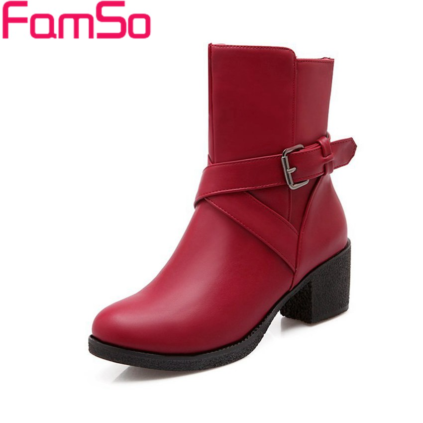 Plus Size34 43 2016 New Sexy font b Women b font Boots buckle Half thick Heels