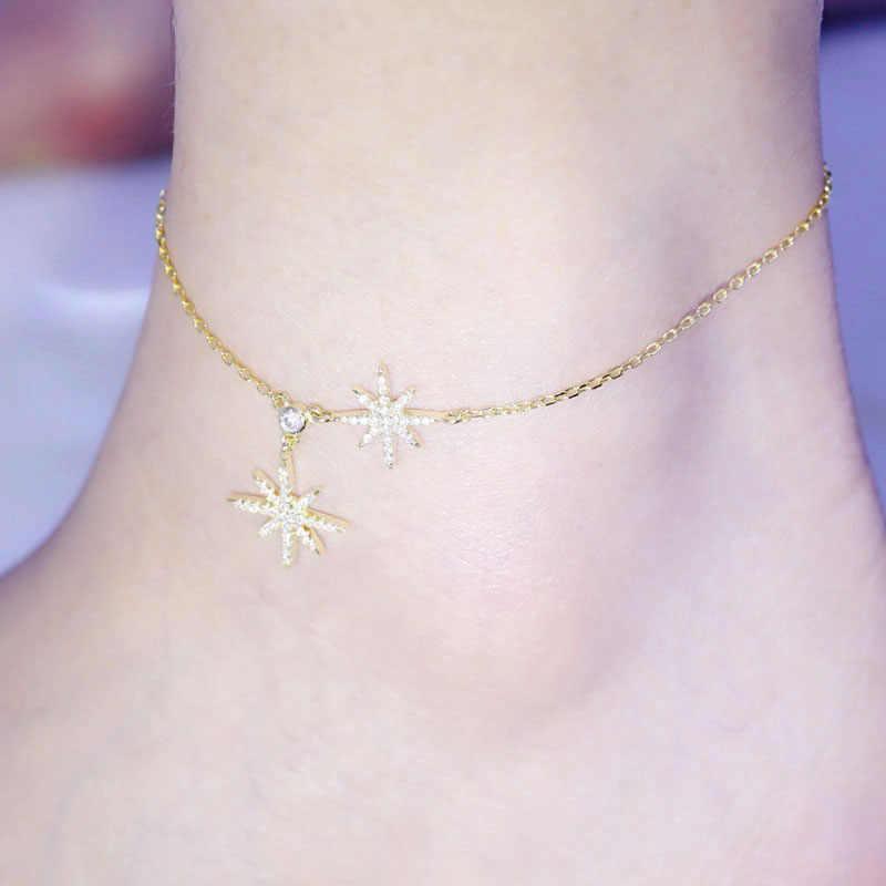 SLJELY แฟชั่น 925 เงินสเตอร์ลิงอุกกาบาตดาว Anklet สำหรับผู้หญิง 3 Gold สีข้อเท้าขาสร้อยข้อมือเครื่องประดับ