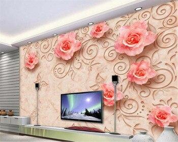 Papel pintado a medida de Beibehang Mural estéreo 3D moderno papel pintado mármol relieve Rosa salón sofá dormitorio papel tapiz papel pintado