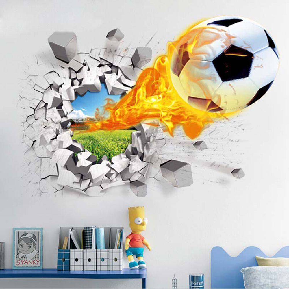 Soccer Through The Wall Stickers TV Background Removable Living Room Bedroom Wall Decals 3D Sticker Room Decoration(China)