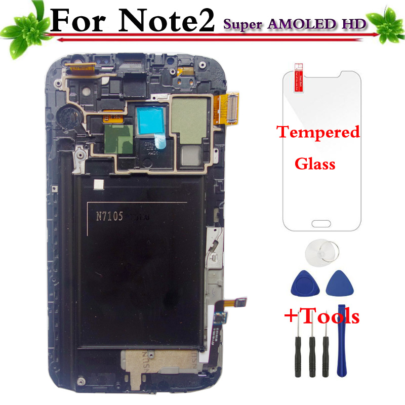 Super AMOLED LCD Display Touch Screen With Frame For Samsung Galaxy Note 2 Note II N7105 Super AMOLED LCD Display Touch Screen With Frame For Samsung Galaxy Note 2 Note II N7105