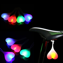 Cycling Heart Shape Night Warning Taillight Bike Rear Light Bicycle Silicone Hot
