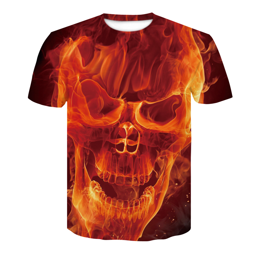Skull t-shirt 2018 New Flame Skull Fashion Cool Men's T-Shirt 3D Fashion double-sided design summer street casual tops S-4XL