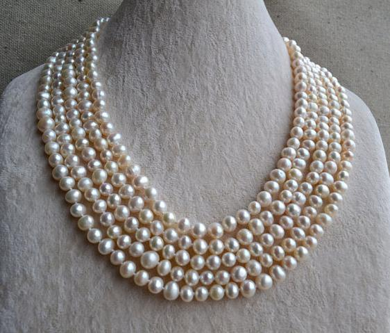 купить 100 inches Long Pearl Necklace,7-8mm White Color Freshwater Pearl Necklace,Wedding Pearl Jewellery по цене 4813.63 рублей