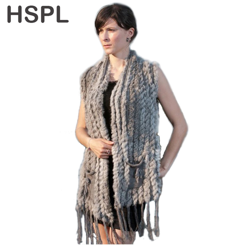 HSPL Stickad Fur Vest 2019 New Hot Sale Fashion Long Cashmere Stickad Real Fur Tassel Pocket Rabbit Vest colete feminino franjas