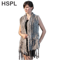 HSPL Knitted Fur Vest 2019 New Hot Sale Fashion Long Cashmere Knitted Real Fur Tassel Pocket Rabbit Vest colete feminino franjas