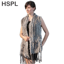 HSPL Knitted Fur Vest 2019 New Hot Sale Fashion Long Cashmere Knitted R