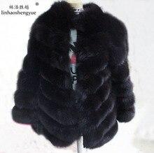 Linhaoshengyue twill The true nature of fox fur coat