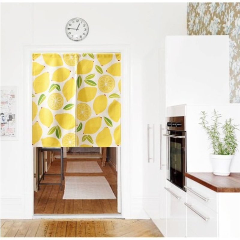 Linen cotton american style lemon fruit cute door curtain - Doors to separate kitchen from living room ...
