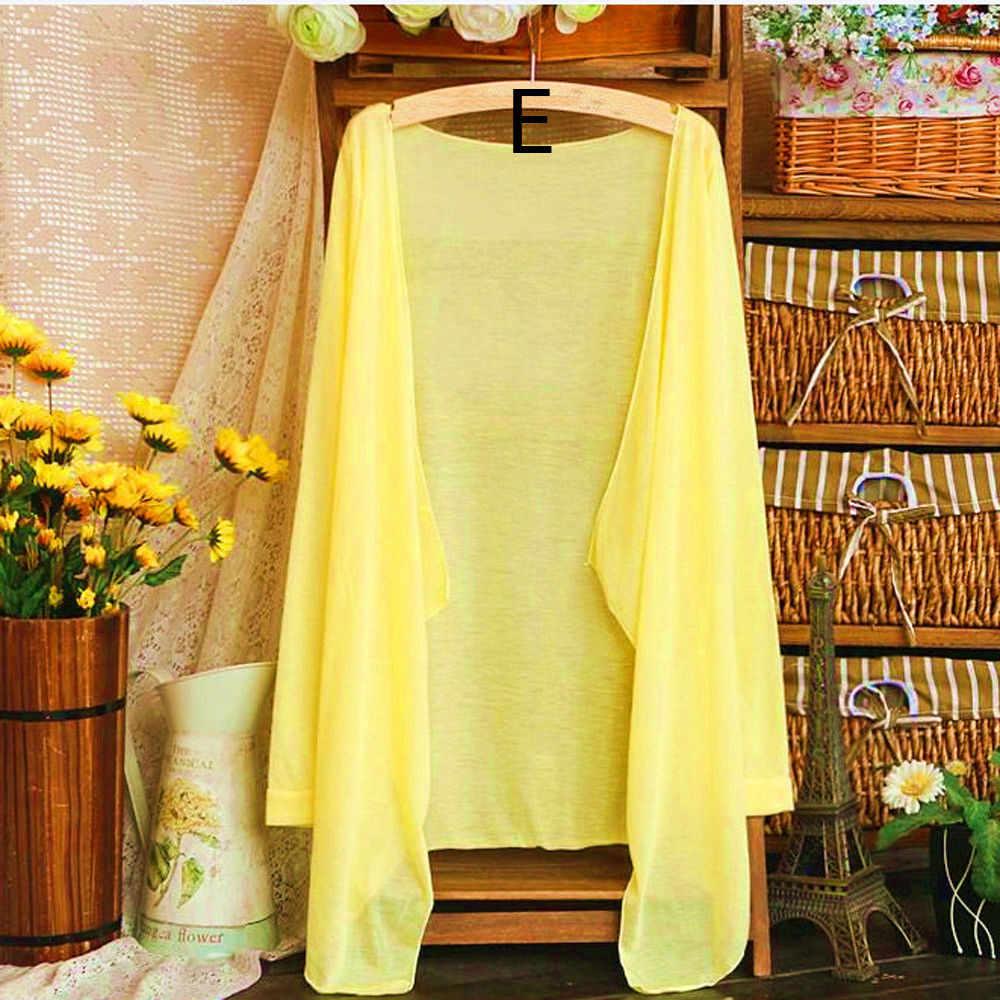 Musim Panas Wanita Panjang Kardigan Tipis Modal Perlindungan Matahari Pakaian Atasan Camisetas Mujer Cape untuk Baju Renang Pantai 2019 #
