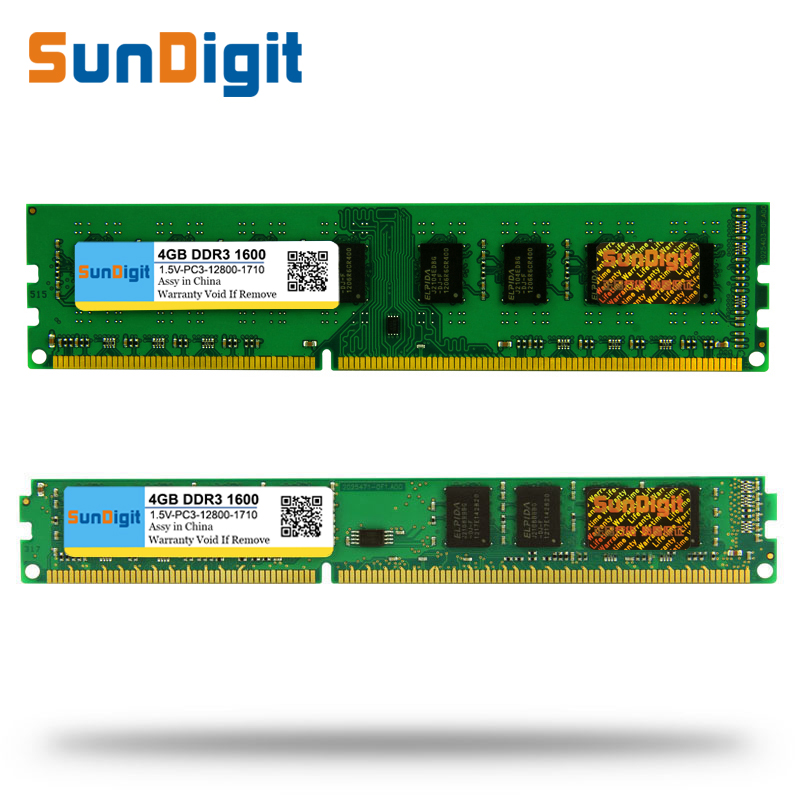 Gros SunDigit DDR3 1600/PC3 12800 2 gb 4 gb 8 gb 16 gb De Bureau PC RAM Mémoire DIMM DDR 3 1600 mhz 1333 mhz PC3-12800 10600