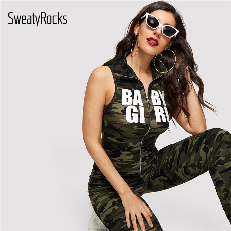 SweatyRocks Camouflage and Letter Print Zip Up   Jumpsuit   Women Summer 2019 Skinny   Jumpsuits   High Neck Rompers Womens   Jumpsuit