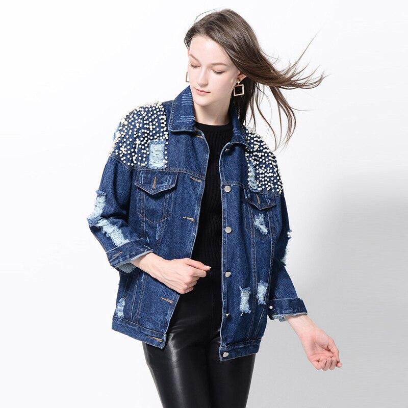 font b Women b font Basic Coats Autumn Winter Girls Denim Jacket 2017 Fashion Long