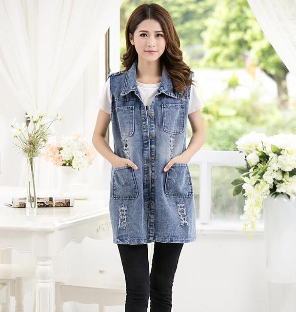 Chalecos mujer 2017 vintage frayed colete jeans casual sin mangas del chaleco de mezclilla azul de las mujeres punk coletes chaleco colete feminino femme