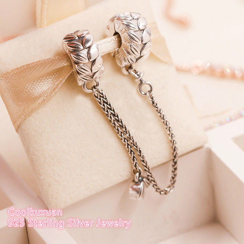 2018 Autumn 100% 925 Sterling Silver Grains Of Energy Safety Chain Beads Fit Original Pandora Charms Bracelet DIY Jewelry