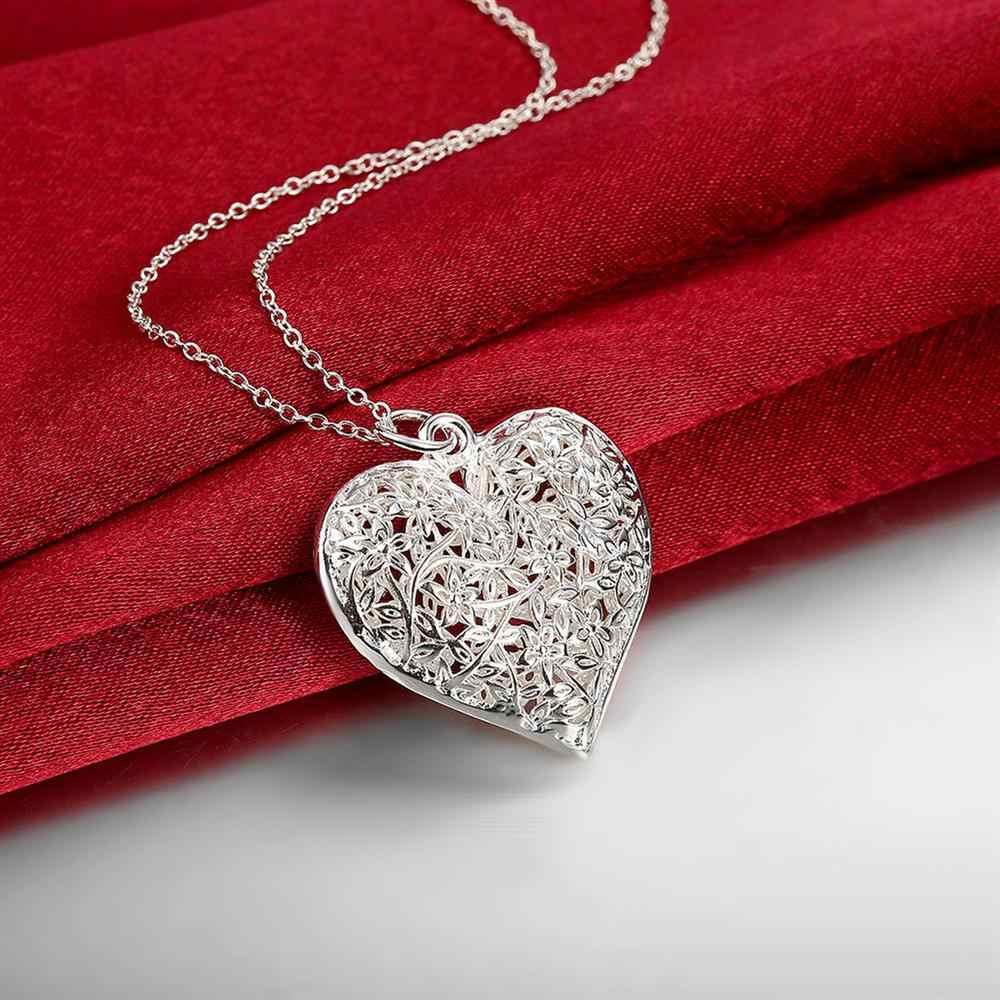 Hot bán bạc mạ pendant đối với quà tặng hình Trái Tim lưới hoa khung cổ điển Mặt Dây Chuyền Bạc Femme Mặt Dây Neckless Đồ Trang Sức