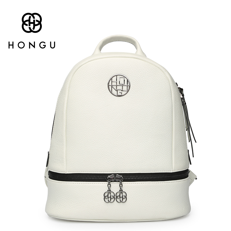HONGU Genuine Leather Women Backpack Personality Retro Female Bag Leisure Travel Backpack Hot Sale C