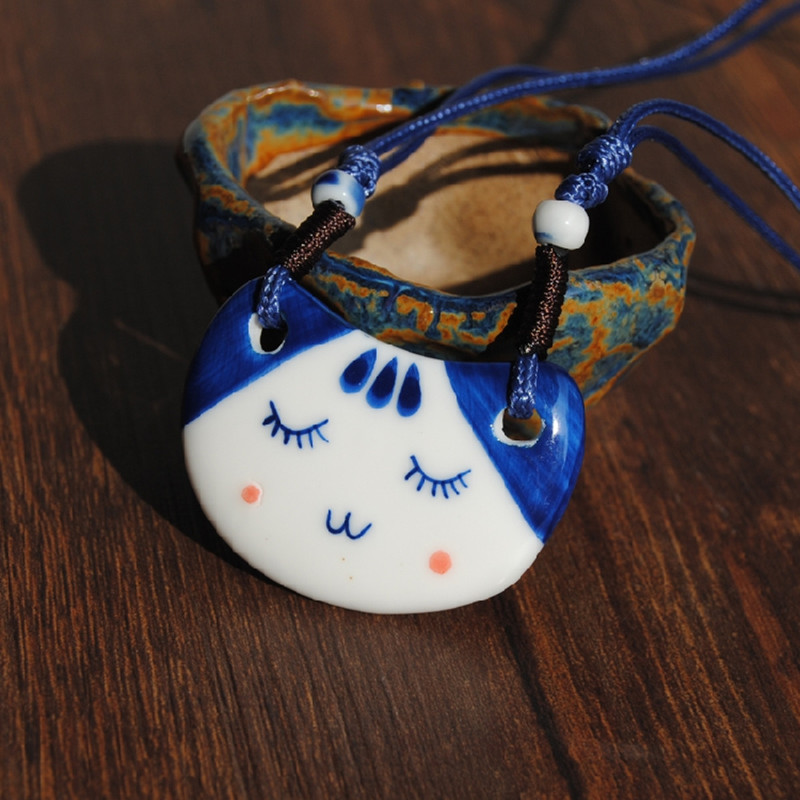 Statement necklaces 2017 chinese style doraemon handmade blue and white porcelain necklace personalized necklace lucky cat