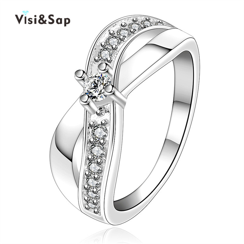 Eleple X Shape Wedding Rings For Women vintage engagement gifts cubic zirconia wholesale fashion Jewelry drop shipping VSR023