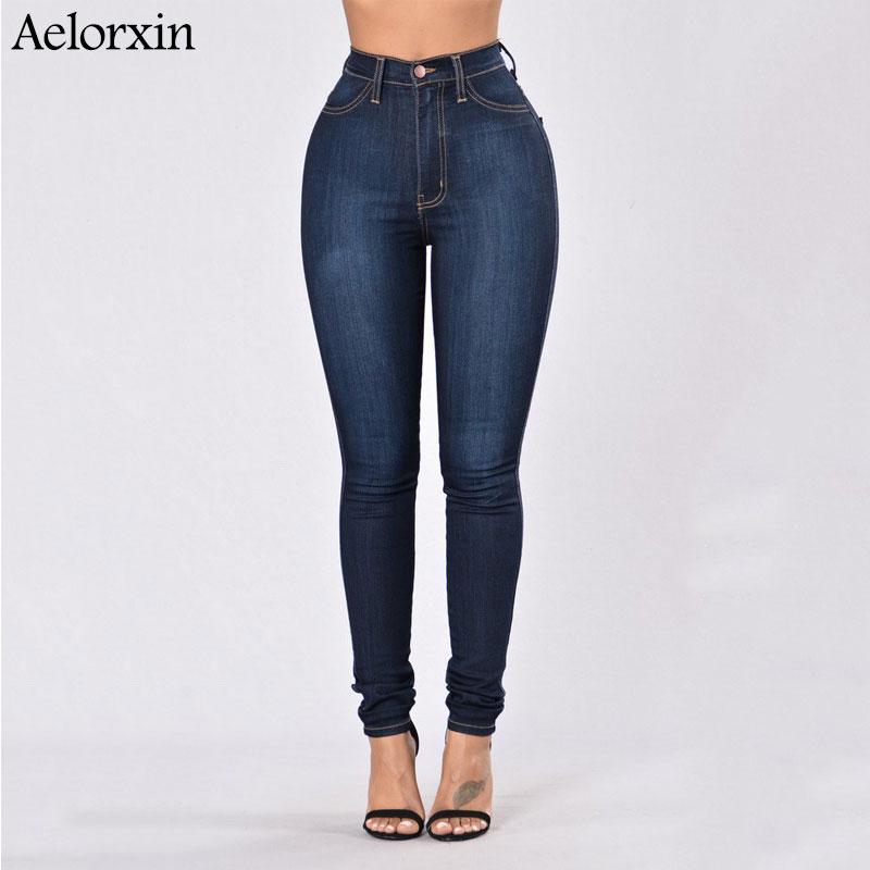 Slim Jeans for Women Skinny High Waist Jeans Woman Blue Denim Pencil Pants Stretch Waist Women Jeans Pants 1