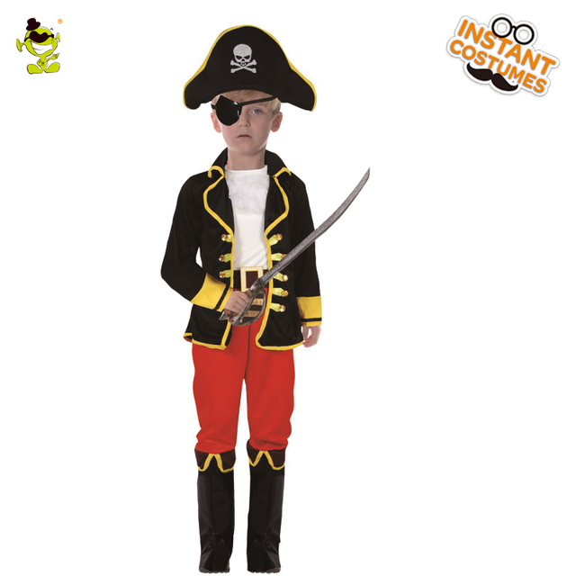 Nice Kids Captain Hook Costumes Cool Captain With Hat Decoration Career Suit  Kids Halloween Cosplay Uniform