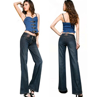 New 2015 Fashion Lager Size Wide Leg Pants Women Casual Full Length Denim Pants Brand Design