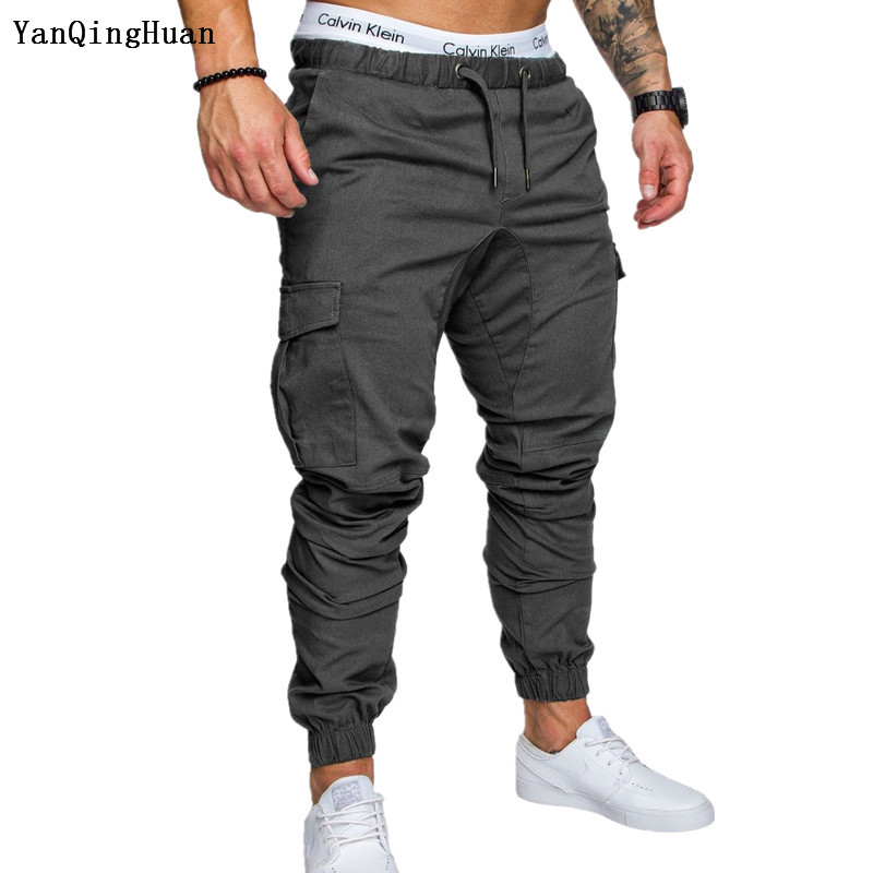 Men's Fashion Casual Tether Elastic Waist Hip Hop Style Trousers YANQINGHUAN2018 New Autumn Solid Color Pocket Harajuku Trousers