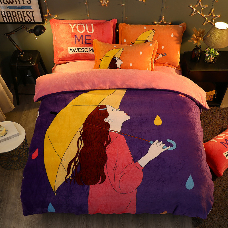 Winter 4 Pieces Cartoon uil Luxe Beddengoed Set Kingsize Queen Bed Set Fleece stof Dekbedovertrek Laken Kussensloop - 6